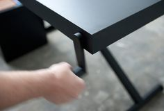 KiBiSi's Xtable is adjusted by hand crank #table