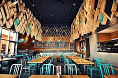 Nando's in Ashford by Blacksheep | Design Milk #interior #blue #diner #restaurant