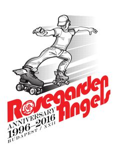 Rosegarden Angels logo #handdrawing #drawing #logo #rollerskate #typography