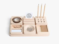 Tofu is a minimalist design created by Thailand based designer Pana. This stationary series was designed as a remembrance to that nostalgic #office #wood #desk #minimal #tray