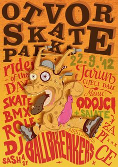Skate Park Opening poster by Ivorin Vrkaš, Hrvoje Dominko and Tena Kelemen #croatia #event #wood #crazy #bike #music #zagreb #lettering #festival #color #opening #park #handmade #grunge #type #ivorin #dog #bmx #orange #jarun #typography #woodcut #skate