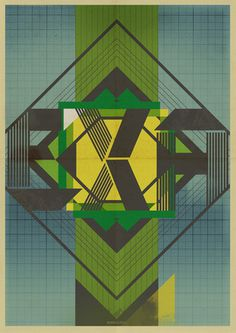 Exa Poster by Oslo #oslo #poster #brazil #geometry