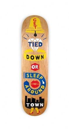 Painted Decks #folk #deck #painted #skateboard #wood #skate #handmade #art #type #typography