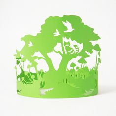 Paper Crowns #green #tree #design #cat #gift #sculptures #lasercut #handmade #art #birthday #mushrooms #blue #wonderland #paper #party