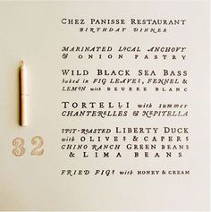 vintage formal type treatment accessible yet formal feeling using vintage style typefaces #type #layout #menu