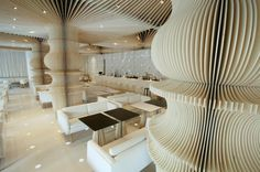 Cafe interior with column