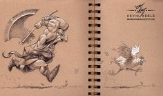 wonderful sketchbook drawing by kevin keele (1) #ink #design #illustration #art #chicken #axe #cartoon #drawing #sketch