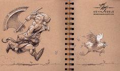 wonderful sketchbook drawing by kevin keele (1) #ink #design #illustration #art #chicken #axe #cartoon #drawing #sketch