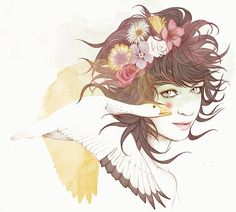 Multimedia illustration of girl hand drawn/watercolored and then digitalize