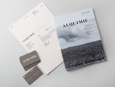 Logotype, print and white ink, warm grey business card designed by ThoughtAssembly for quarterly beverage magazine Alquimie #ss