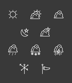 Weather Icon Set, Free Download on Behance #sun #wind #vector #weather #cloud #icon #illustrator #rain #lightning #star #outline #moon