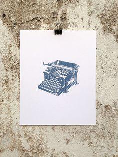 Typewriter - 8 x 10 Mini Poster #vintage #retro #etching #illustration #kitsch #typewriter #typing #writer #writing #hemingway #remington #t
