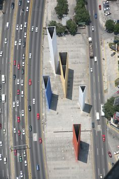 Modern aerial view of the Satelin Torres #urbanism #barragan #concrete #architecture