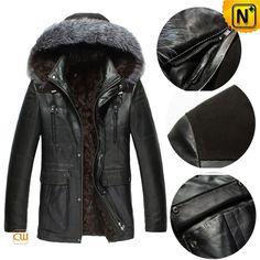 Mens Black Hooded Sheepskin Leather Coat CW868866