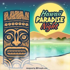 #HAWAII #PARADISE #NIGHT #free #vector #tiki