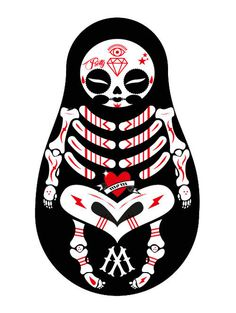 matriosca-bones #ink #monking #matrioska #pretty #mom #tattoo #indian #la #art #skull #bones #love