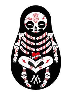 matriosca-bones #ink #monking #matrioska #pretty #mom #tattoo #indian #la #art #skull #bones #love