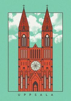Uppsala Cathedral #sweden #church #lineart #poster #cathedral #uppsala