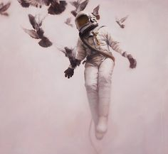 Wild, Young, and Free #geddes #astronaut #doves #painting #art #jeremy
