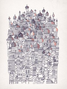 Image of Diomira #illustration #hand drawn #screenprint #city #handmade #composition #buildings