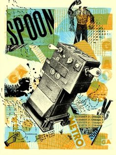 Spoon- Chicago NYE 2007- Jon Smith #catalog #spoon #orange #retro #blue #collage #green