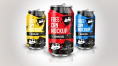 Free Soda Can Mockup PSD