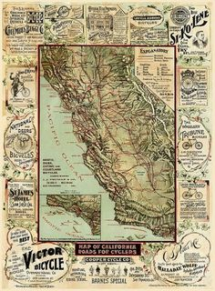 Vintage map of California roads for Cyclers by AncientShades #prints #retro #map #oldmap #vintage #california