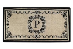 "Create your own style with this decorative Border Coco Fiber Door Mat. Durable and beautiful, this mat keeps shoes clean to protect your floors from mud, dirt and grime. It is flexible, robust and durable. This mat provides exceptional brushing action on footwear with excellent water absorption. Specification - Monogrammed Double Doormat with (P-Letter). Product Dimensions - *36"" x 72"" x 1.5"""