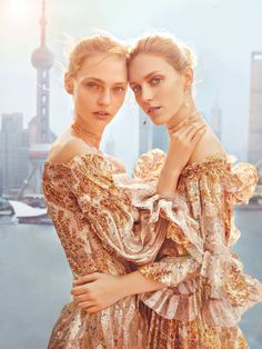Anja Rubik and Sasha Pivovarova by Chen Man