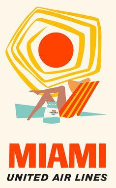 vintage, miami, travel poster