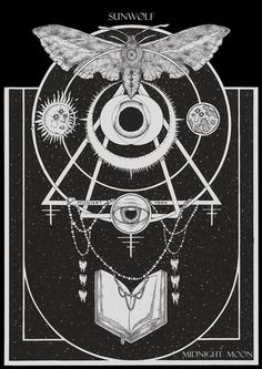 Fine occult art forged by Adrian Baxter. Our... #geometry #moth #occult #eye #illustration