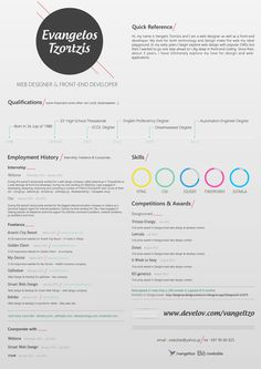 Resume / CV vangeltzo on Behance #type #infographics