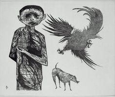 Google Image Result for http://www.terminartors.com/files/artworks/3/1/4/31475/Baskin_Leonard-Frightened_Boy_and_his_Dog.jpg #baskin #print #block #wood #leonard
