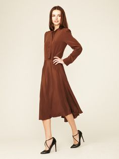 Marc by Marc Jacobs Michaela Silk Tie Neck Dress #fashion #brown #dress