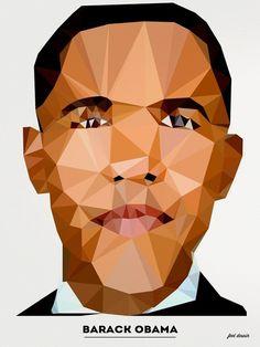 POLYGONAL PORTRAITS | FEEL DESAIN | feel desain #design #graphic #poly #digital #posters #poster #polygonal #obama