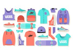 Vans . Free Illustration Kit By Katia Tsikrikonai & Sofia Drogoudi #flat #clothing #shoes #apparel #design #icons #accessorie #skate #colors #vans #illustration #skater #style #stuff