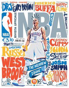 NBAITALIA2013mayo #print #hand #cover #illustration #basketball #drawn #type #nba #magazine