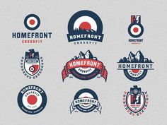 Homefront_crossfit_logo_emblem_options #vintage #branding #logos #vector #mountains #badges