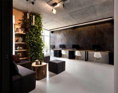 Integrated Green Wall at New Office of Yakusha Design - #office, office design, office space, #interior, interior design