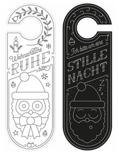 door hanger, doorhanger, door card, illustration, christmas, santa, satan, christmas card