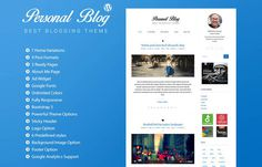 Personal Blog : Free Responsive Blogging WordPress Theme