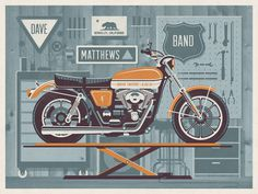 Dave Matthews Band // Berkeley, CA poster by DKNG #gig #motorcycle #poster #dkng