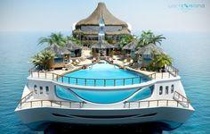 Yacht Island Design's 'Tropical Island Paradise' #island #yacht #boat
