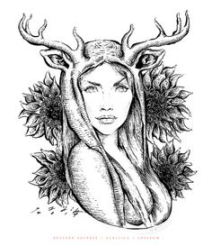 BELLEZA SALVAJE on Behance - https://www.behance.net/gallery/20805287/BELLEZA-SALVAJE #deer #white #woman #arte #draw #sadik #girasol #& #mexico #mujer #black #tint #tinta #belleza #illustration #sunflower #art #beauty