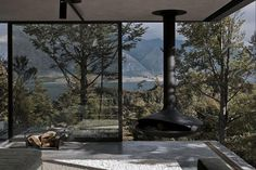 Mountain Retreat Heavily Rendered Stone #fireplaces #interiors #architecture #landscapes #houses #trees #green