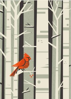 FloraFauna: Winter Wonderland - Design Work Life #red #bird #monochrome #nature #trees