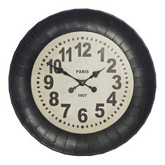 Deakin Black Metal Wall Clock, 65 cm D