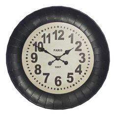 Deakin Black Metal Wall Clock, 65 cm D