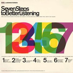 Project Thirty Three: Seven Steps To Better Listening (CBS, 1964) #azidenzgrotesque #sansserif #typography