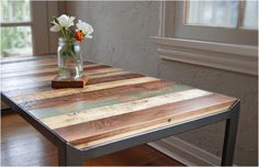1_magneticgrain refurbished wood pallete table magnet changeable desk design #wood #table #reclaimed